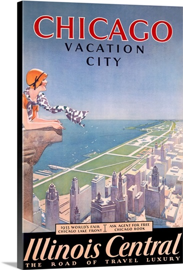 Chicago vacation guide illinois central vintage poster for Vintage chicago posters