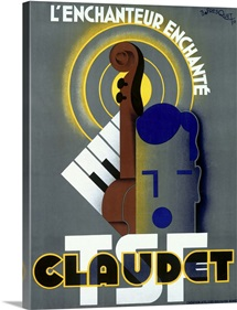 Claudet TSF, Enchanted Violin,Vintage Poster