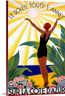 Cote dAzur, Le Soleil Toute, LAnne,Vintage Poster, by Roger Broders