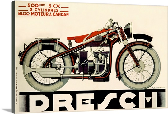 Dresch, 500 CC Motorcycle, 1935,Vintage Poster