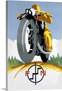FN, Motorcycle, 1925, Vintage Poster