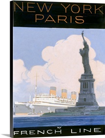 French Line, New York to Paris,Vintage Poster