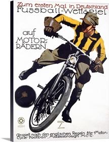 Fussball Wettspeil, auf Motorradern,Vintage Poster, by Ludwig Hohlwein