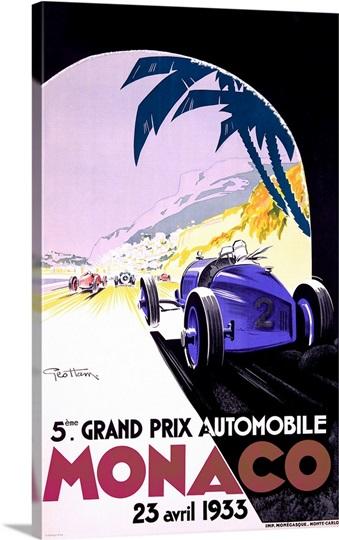 Grand Prix, Monaco, 1933, Vintage Poster, by Geo Ham