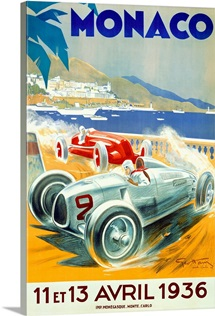 Grand Prix, Monaco, 1936,Vintage Poster, by Geo Ham