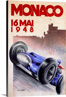 Grand Prix, Monaco, 1948, Vintage Poster, by Geo Hamm