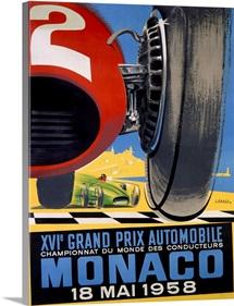 Grand Prix, Monaco, 1958, Vintage Poster