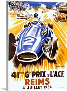 Grand Prix, Reims, 1954,Vintage Poster, by Geo Ham