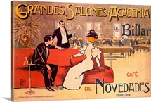 Grandes Salones y Academia de Billar, Vintage Poster, by Antoni Utrillo