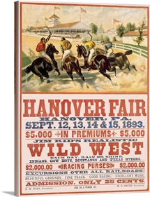 Hanover Fair Horse Race, Wild West,Vintage Poster
