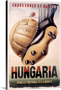 Hungaria, Football and Rugby Shoes, Vintage Poster