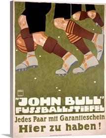 John Bull Fussballstiefel,Vintage Poster