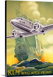 KLM, Royal Dutch Airlines,Vintage Poster