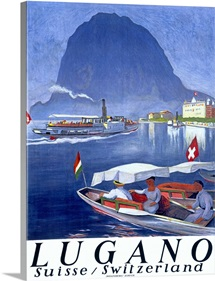 Lake Lugano, Switzerland,Vintage Poster, by Otto Baumberger