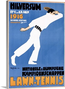 Lawn Tennis,Vintage Poster, by Jan Willem Sluiter