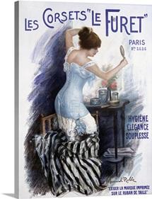 Les Corsets Le Furet,Vintage Poster, by Manuel Robbe