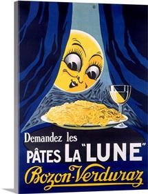 Les Pates la Lune, Pasta and Moon, Vintage Poster