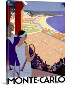 Monte Carlo Riviera Tennis Resort Vintage Advertising Poster