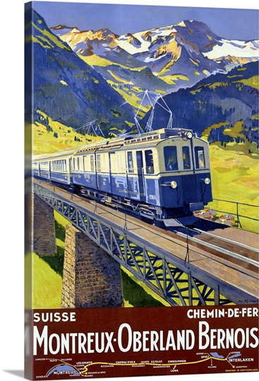 Montreaux Oberland Bernois, Suisse, Vintage Poster, by Elzingre