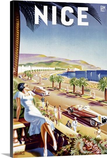 Nice Riviera Beach Resort Vintage Advertising Poster Photo ...