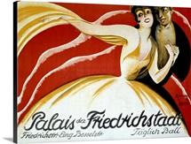 Palais der Friederichstadt, Taglich Ball, Vintage Poster, by Riemer