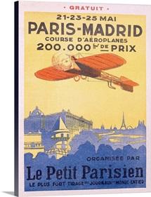 Paris Madrid, Le Petit Parisien,Vintage Poster
