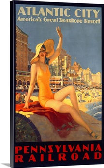 Pennsylvania Railroad, Atlantic City,Vintage Poster, by Edward M. Eggleston