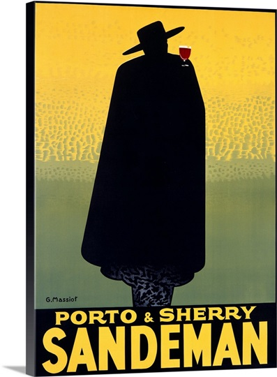 Porto & Sherry Sandeman,Vintage Poster, by George Massiot