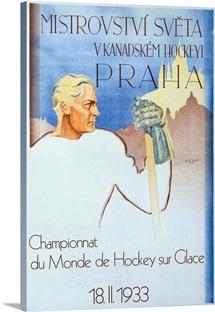 Praha, Championnat du Monde de Hockey,Vintage Poster