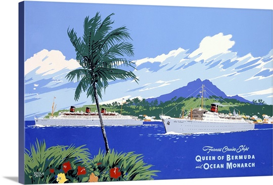 Queen of Bermuda, and Ocean Monarch, Cruise Ships, Vintage Poster