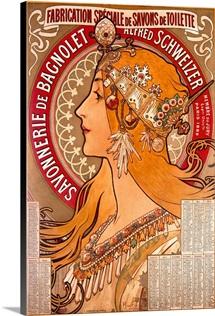 Savonnerie de Bagnolet, Vintage Poster, by Alphonse Mucha