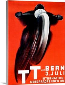 T.T. von Bern, 1938, Motorcycle, Vintage Poster, by Ernst Ruprecht