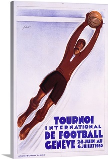 Tournoi de Football, 1930, Vintage Poster, by Noel Fontanet