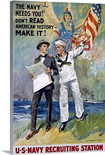 U.S. Navy Recruiting Station,Vintage Poster, by James Montgomery Flagg