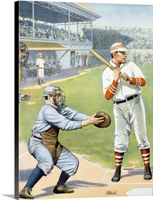 US Baseball at the Plate, Vintage Poster