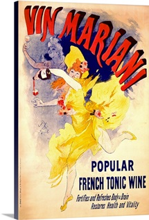 Vin Mariani, popular french tonic wine,Vintage Poster, by Jules Cheret