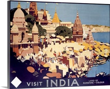 Visit India,Vintage Poster, by Fred Taylor