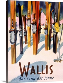 Wallis, winter, snow, ski, Vintage Poster