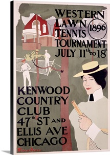 Western Lawn Tennis, Kenwood Country Club,Vintage Poster