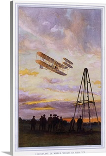 Wilbur Wright Aviation, Biplane,Vintage Poster, by A. Serougart