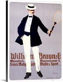 Wilhelm Braun, Tennis Racket,Vintage Poster
