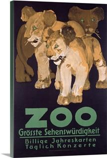 ZOO, Grosste Schenswurdigkeit, Vintage Poster
