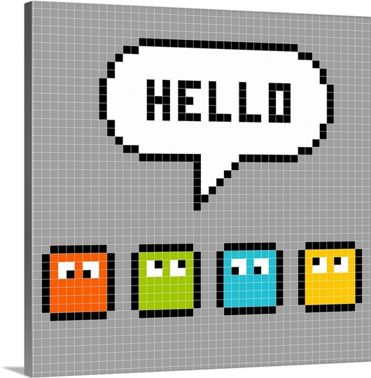 8 bit characters say hello pixel art wall art canvas