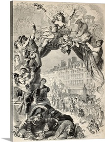 Allegoric illustration of Mardi Gras during Carnival celebrations in Paris