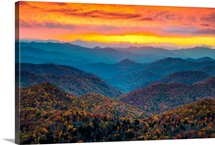 Blue Ridge Parkway Mountains at Sunset, NC