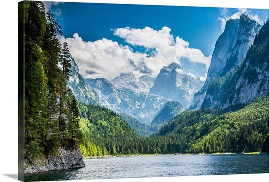 Lake In High Mountains Alps Austria Photo Canvas Print