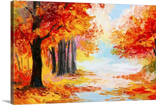 Oil Painting Of A Landscape In Autumn Foliage Photo Canvas