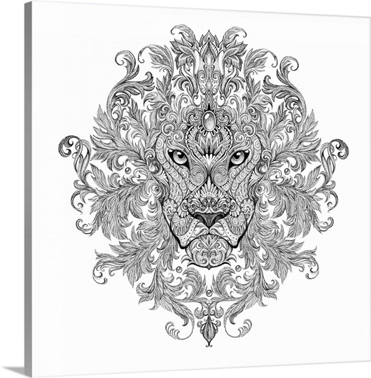 ornate lion head tattoo design wall art canvas prints framed prints wall peels great big canvas. Black Bedroom Furniture Sets. Home Design Ideas
