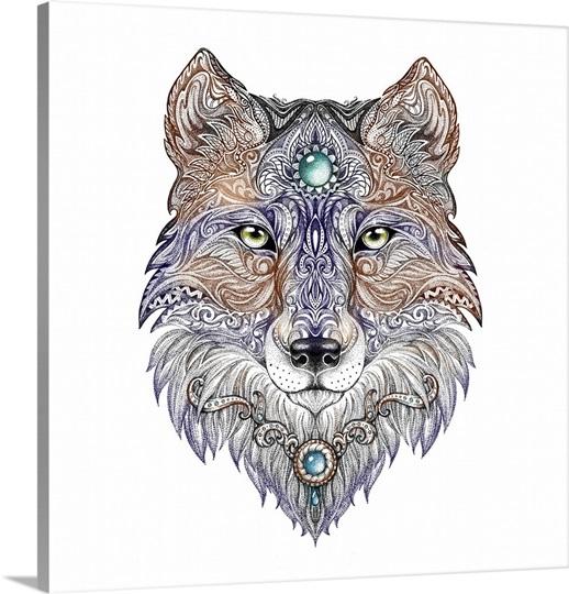 ornate wolf head tattoo design photo canvas print great big canvas. Black Bedroom Furniture Sets. Home Design Ideas
