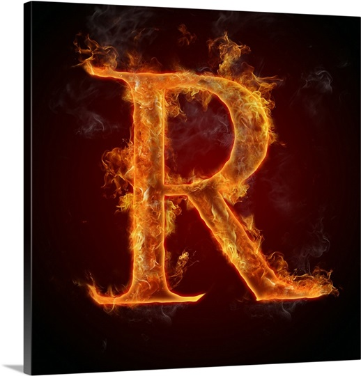 R - Flame Letter Art Photo Canvas Print | Great Big Canvas